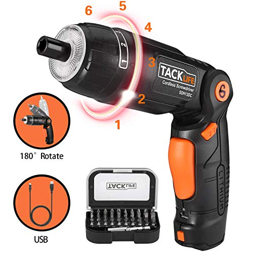 TACKLIFE Cordless Screwdriver, 3.6V 2.0Ah Electric Screwdriver Rechargeable, Adjustable 3 Position Handle, 31pcs Screwdriver Bits, 6 Torque Setting, 1 N.m to 4 N.m, Front and Rear Light, SDH13DC
