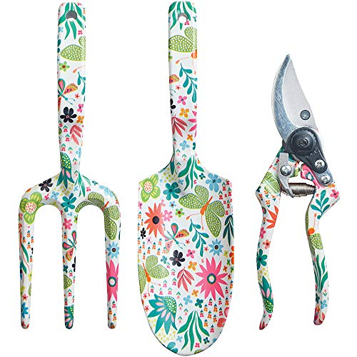 Copper Spade Decorative Aluminum Garden Tool Set - Trowel, Secateurs, Fork (Butterflies & Flowers)