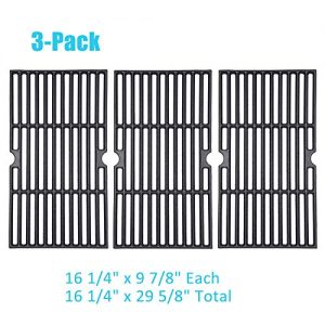 "BBQration 3-Pack CIF159C 16 1/4"" x 9 7/8"" Each Matte Cast Iron Cooking Grid Replacement for Dyna-Glo DGF510SBP, Backyard Grill BY13-101-001-13, Better Homes & Gardens and More"