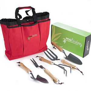 OCALIVING Gorgeous, 6-Piece Garden Hand Tool Set inc. Cherry Red, Weather-Resistant Storage Bag - Gardening and Planting Essentials - Sharp, Steel Planter Accessories with Ergonomic Ash Wood Handles