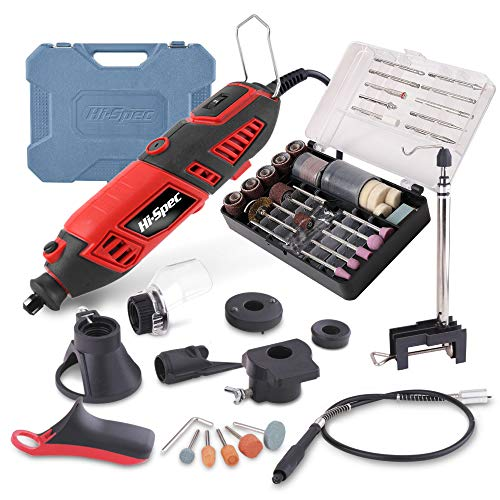 Hi-Spec 135 Piece 170W Rotary Power Tool Kit with 1m Flexi Drive Shaft, Clamp Stand, Cutting Guides, Handle & 126 Piece Bits for DIY Repairs & Craftwork in a Carry Case. Compatible with Dremel Bits