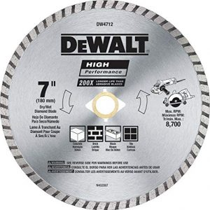 DEWALT Diamond Blade for Block and Brick, Dry/Wet Cutting, Continuous Rim, 7-Inch (DW4712)