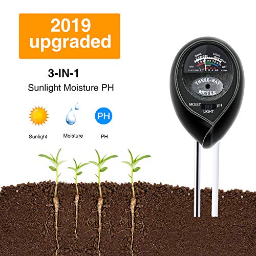 Soil Test Kit pH,3-in-1 Soil Tester Moisture Light Meter for Gardening,Plants,Lawn,Farm,Vegetables,Trees,Grass(No Batteries Required) (Black)