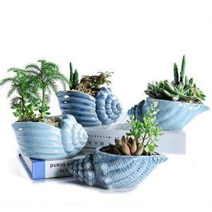 Sun-E 5.5 Inch Blue Conch Ocean Series Ceramic Base Serial Set Succulent Plant Pot Cactus Plant Pot Flower Pot Container Planter with Drainage Hole Idea 4 in Set