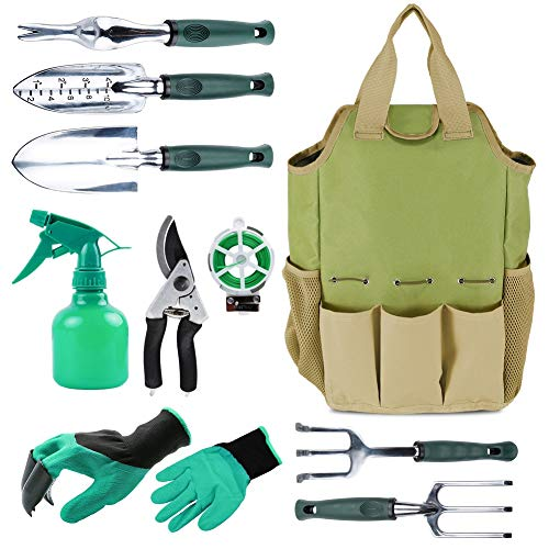 INNO STAGE Gardening Tools Set and Organizer Tote Bag with 10 Piece Garden Tools,Best Garden Gift Set,Vegetable Gardening Hand Tools Kit Bag with Garden Digging Claw Gardening Gloves