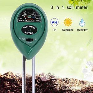Emoly Soil pH Meter, 3-in-1 Soil Testing Kit with Moisture, Light and PH Tester for Plant, Vegetables,Garden, Farm, Lawn, Indoor & Outdoor (No Battery Needed) - Green