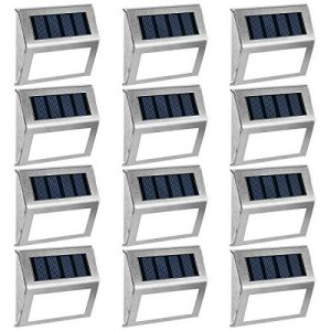 GIGALUMI 12 Pack Solar Deck Lights,3 LED Solar Stair Lights,Outdoor LED Step Lighting Stainless Steel Waterproof Led Solar Lights for Step/Stairs/Pathway/Walkway/Garden-(Cold White)