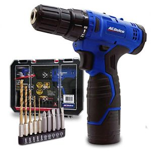 """ACDelco ARD12126S1 12V Lithium-Ion Cordless 2-Speed 3/8"""" Drill Driver Kit (10 Bits, Battery, Charger, Tool case)"""