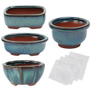 kilofly Happy Bonsai Mini Glazed Pots Value Set of 4, with 4 Soft Mesh Drainage Screens