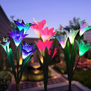Wohome Outdoor Solar Garden Stake Lights,3 Pack Solar Powered Lights with 12 Lily Flower, Multi-Color Changing LED Solar Landscape Lighting Light for Garden, Patio