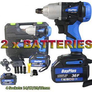 "Feidake Cordless Impact Wrench with 1/2"" Chuck, 18V Impact Gun Max Torque 3720 in-lbs, 4Pcs Driver Impact Sockets, Tool Case and 2Pcs 6000mAh Li-ion Battery"