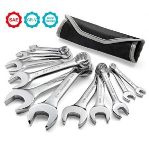 GEARDRIVE Stubby Combination Wrench Set, SAE, 11-piece, 3/8'' to 1'', 12-Point, Chrome Vanadium Steel Construction with Pouch