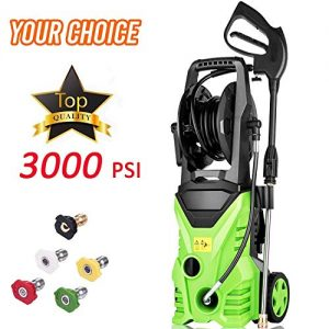 Homdox 2850PSI 1.7GPM Power Pressure Washer Machine 1800W with Power Hose Gun Turbo Wand, 5 Interchangeable Nozzles and Rolling Wheels