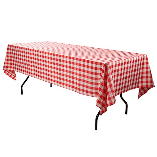 E-TEX Rectangle Tablecloth - 60 x 126 Inch - Red & White Checked Rectangular Table Cloth for 8 Foot Table in Washable Polyester