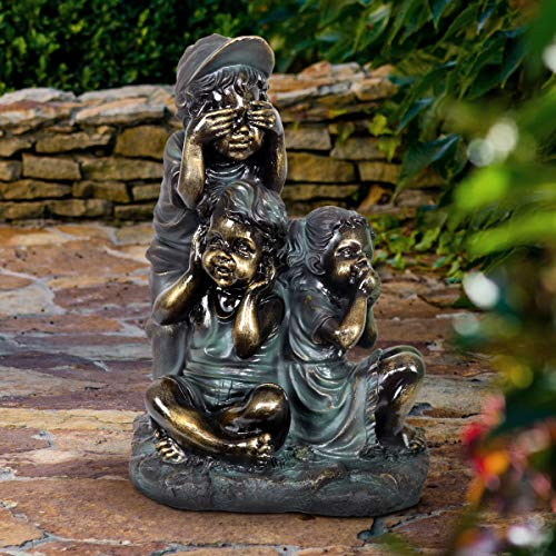 Exhart Children's See No Evil Statue | Patina Finish Garden Statuary | Faux Bronze Statue | Garden Art Resin Statue | Hear, See, Speak No Evil Outdoor Decorations | (18.5 in)