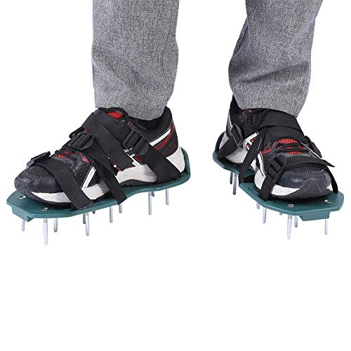 Lawn Aerator Shoes 3 and 4 Straps Lawn Aerator Sandals Heavy Duty Spiked Sandals for Yard Lawn Soil Loosening Tool(3 Straps)