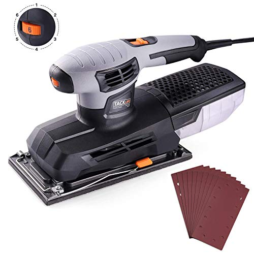 Sheet Sander, Tacklife 1/2 Finishing Sander, 12,000Rpm Variable Speed Palm Sander with 10Pcs Sanding Sheets, High Performance Dust Collector, Hook-and-Loop Base Pad, Aluminum Base Plate