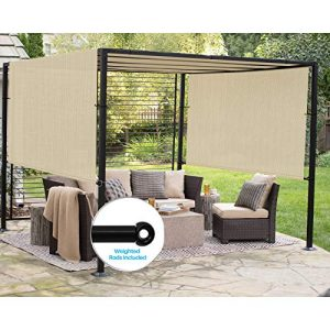 Patio Outdoor Shade Universal Replacement Pergola Canopy Shade Cover 10'X12' Beige with Grommets 2 Sides Weighted Rods Included Shade Screen Panel for Balcony Deck Porch