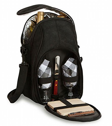 Picnic Plus Brava Wine & Cheese Set Holds 2 Bottles Thermal Insulated includes Glasses, Cheese Board