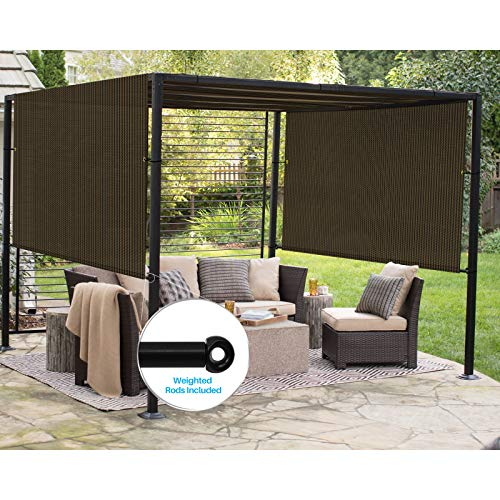 Patio Outdoor Shade Universal Replacement Pergola Canopy Shade Cover 8'X12' Brown with Grommets 2 Sides Weighted Rods Included Shade Screen Panel for Balcony Deck Porch