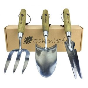 Oakenleaf 3 Piece Garden Tool Set Extra Large Stainless Steel with Timber Handles Trowel Fork and Multitool