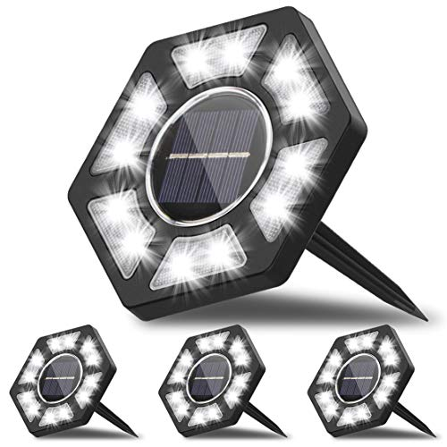 Karvipark Solar Ground Lights, LED Garden Lights Solar Powered Patio Outdoor Lights Waterproof In-ground Landscape Lighting for Yard Lawn Deck Pathway Walkway Driveway (4 Pack)