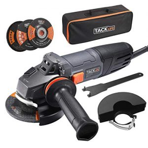 TACKLIFE 8.5Amp Angle Grinder Tool, 4-1/2-Inch Angle Grinder 12000RPM, with Anti-Vibration Handle, 5 Accessories, 1 Storage Bag-P9AG115