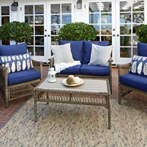 Quality Outdoor Living 65-516234D Savannah All-Weather 4 Piece Deep Seating Set, Brown Wicker + Blue Cushions