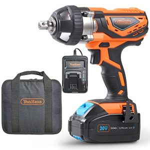 "VonHaus 20V MAX Cordless 1/2"" Impact Wrench Set High Torque with Variable Speed - Includes 3Ah Lithium-ion Battery, Smart Charger, Belt Hook and Tool Bag"