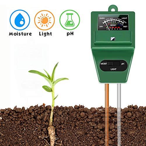 SubClap Soil Test Kit 3-in-1 Moisture Sunlight pH Soil Tester Meter, Soil Sensor Tool Tester Water Light pH for Plants/Vegetables/Garden/Lawn/Farm (No Battery Needed)