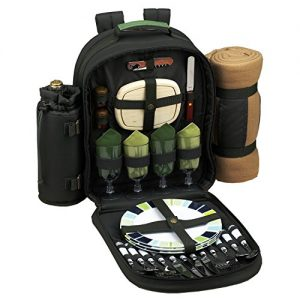 Picnic at Ascot - Deluxe Equipped 4 Person Eco Picnic Backpack with Cooler, Insulated Wine Holder & Blanket - Forest Green