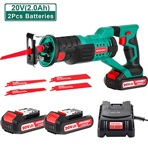 "HYCHIKA Cordless Reciprocating Saw 20V 2Ah 2 Batteries 4 Saw Blades, 0-2800SPM Variable Speed, 7/8"" Stroke Length Tool-Free Blade Change LED Light for Wood Metal Cutting Pruning …"