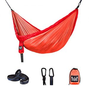 Better Outdoor Supply Hammock - Portable - Durable - Lightweight 210T Nylon Parachute Kit - Multiple Colors - Perfect Relaxing - Camping - Outdoor - Indoor and Travel   (Reddish Orange, Single)