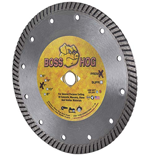 """Boss Hog 7-Inch (7"""") X .090 X DM-5/8"""" Dry/Wet Diamond Blade for High Performance Cutting of Masonry, Concrete, Stone, Roof Tile and More."""