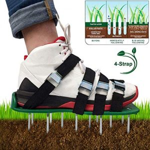 BIBISTORE Manual Lawn Aerator Shoes Garden Grassplot Aerating Soil Spike Sandals Yard Greensward Loosen Soil Tools (4 Straps,Universal Size,Black)