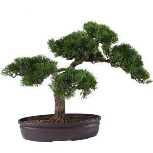 Nearly Natural 4106 16in. Cedar Bonsai Silk Plant,Green