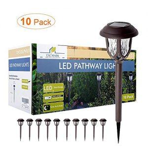ExcMark Solar Lights Outdoor Pathway, Solar Pathway Lights, Solar Powered Garden Yard Lights for Walkway Sidewalk Driveway, 3 Lumens (Warm White 10 Pack)
