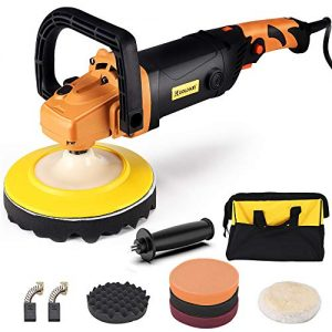 Buffer Polisher, GOLDKIN 7-Inch 1400W 12.7Amp 6-Speed Variable Speed Polisher, Rotary Orbital Polisher, Soft Start Constant Power Constant Speed for Car Polishing Buffing Waxing Sanding Sealing Glaze