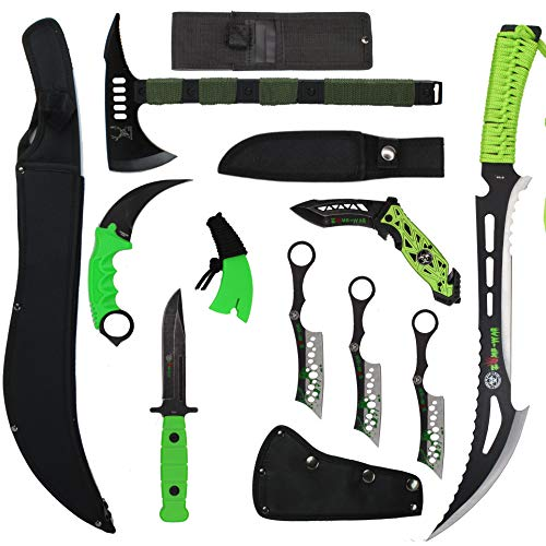 Blade Factory 9pc Zombie Green & Black Set | Machete | Fixed Blade Knife | Karambit Hawkbill Knife | Hatchet Axe | Spring Assisted Pocket Knife | 3pc Throwing Knife Set | Holt Multi Tool Keychain