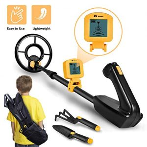 """RM RICOMAX Metal Detector for Kids - 7.4 Inch Waterproof Kid Metal Detectors Gold Detector Lightweight Search Coil (35""""-45"""") Adjustable Metal Detector for Junior & Youth with High Accuracy - Yellow"""