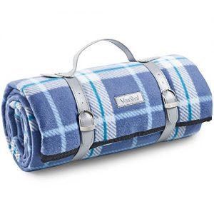 "VonShef Picnic Blanket - Large 58"" x 71"" Soft Waterproof Folding Picnic Blanket for Outdoor Picnics, Beach, Camping - Navy Tartan Pattern"