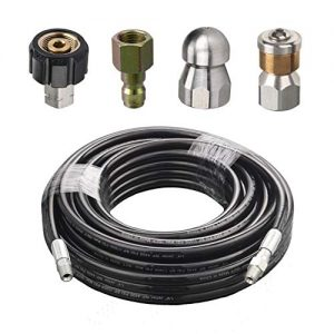RIDGE WASHER Sewer Jetter Kit for Pressure Washer, 50 Feet Hose, 1/4 Inch, Drain Jetting, Laser and Rotating Sewer Nozzle, 4000 PSI, Orifice 4.0, 4.5