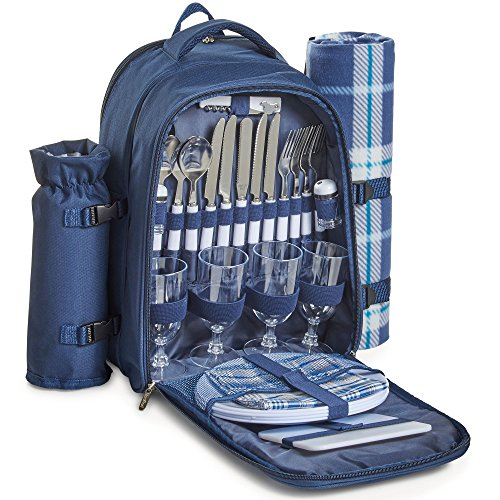 VonShef 4 Person Outdoor Picnic Backpack Bag Set with Insulated Cooler Compartment - Includes Picnic Blanket, Detachable Bottle Wine Holder, Flatware and Plates – Navy Tartan