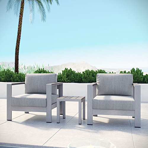 Modway Shore 3-Piece Aluminum Outdoor Patio Furniture Set in Silver Gray