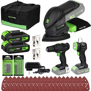 GALAX PRO Cordless DIY Power Tool Kit, Cordless Mouse Sander 12000OPM, 2-Speed Drill Driver 20V, Cordless Torch 110Lm, Battery Li-Ion 1.3Ah with Charger