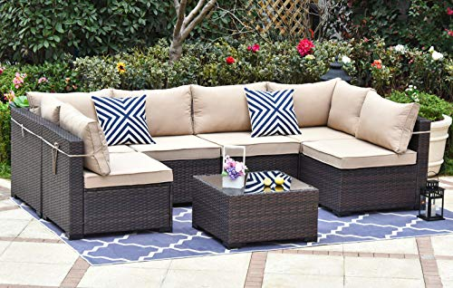 Gotland Outdoor Patio Furniture Set 7 Pieces Sectional Rattan Sofa Set Manual Wicker Patio Conversation Set with A Tempered Class Table and 6 Seat Cushions