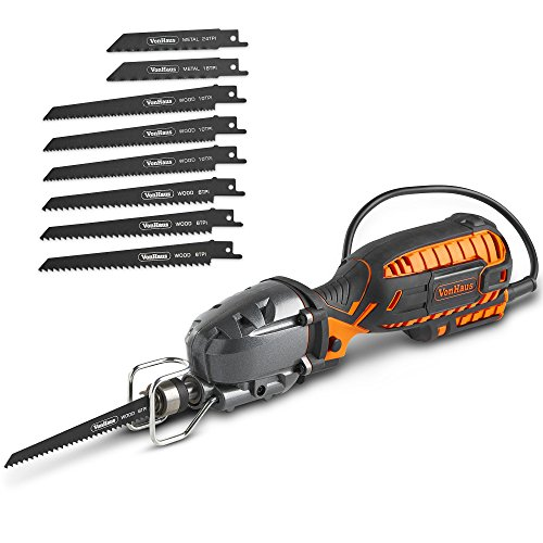"VonHaus 5 Amp Compact Reciprocating Saw Kit Electric Saw with 8 Blades, ½"" Stroke Length, Max. Cutting Capacity 4½"", 3000SPM and 16ft Cable, For DIYWood Cutting & Metal Cutting"
