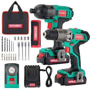 Cordless Drill Driver 20V Max 330 In-lbs and Impact Driver, HYCHIKA Drill Combo Kit, 2x1.5Ah Batteries, 1H Fast Charging, LED Flashlight, 22PCS Accessories for Drilling Wood, Metal and Plastic