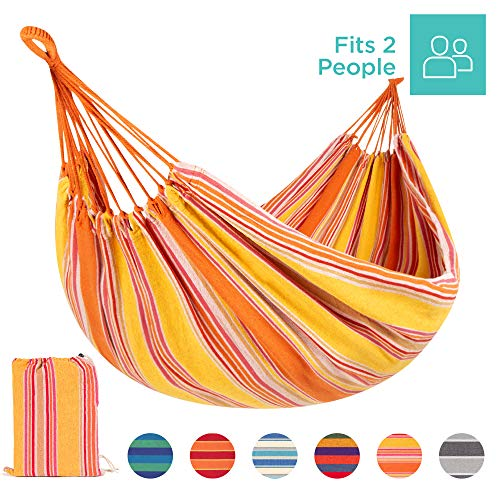 Best Choice Products 2-Person Brazilian-Style Cotton Double Hammock Bed w/Portable Carrying Bag Sunset