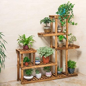 Wooden Plant Stand, Flower Shelf Holder 5 Tier Storage Rack Shelving Unit - Pot Shelves Bonsai Display Storage Rack Outdoor Indoor Garden Patio for Multiple Plants 37.4x9.84x37.79 Inches